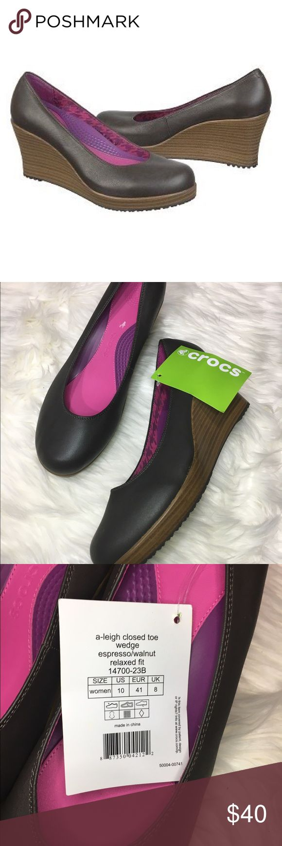 """Crocs Women's A-Leigh Closed Toe Wedge Women's Crocs A-leigh Closed toe wedge relaxed fit. espresso/walnut color. size 10. 3.5"""" wedge. new without box CROCS Shoes Wedges"""