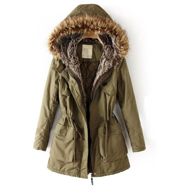 FUR HOODED PARKA ($73) ❤ liked on Polyvore featuring outerwear, coats, jackets, casacos, parka coat, brown coat, fur hood parka, fur hood coat and brown parka