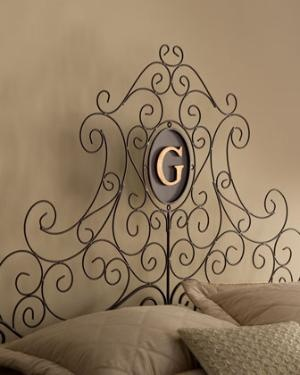 """Dr. Livingston - """"Dayton"""" Monogrammed Headboard - Horchow. It must be meant for me,  it has a G."""