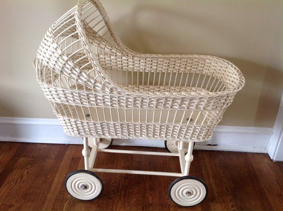 Vintage 1950 Wicker Bassinet Original Owner —