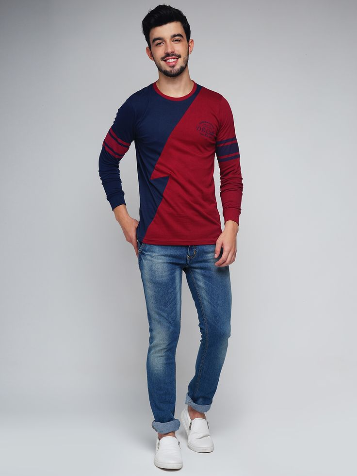 Difference of Opinion #Men #Maroon & #Navy #Colourblocked #Round #Neck #Tshirt #fashion #style