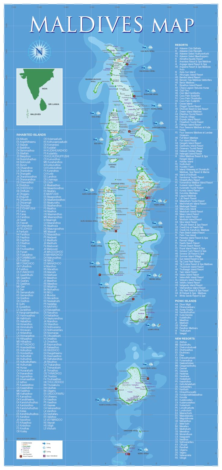 Maldives Map. The Maldives, a group of about 1,200 islands, separated into a series of coral atolls, is just north of the Equator in the Indian Ocean. Only 200 of the islands are inhabited.