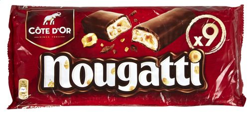 COTE D'OR NOUGATTI nougat au chocolat au lait 9x30grCOTE D'OR Nougatti is a finely delicious nougat bar topped with a creamy layer of chocolate milk intense Gold Coast The best Belgian food shop: www.chockies.net