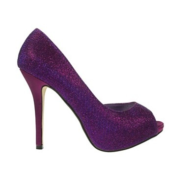 Purple Glitter Trim Semi D'Orsay Court Shoes - Court shoes - Shoes & boots - Women -