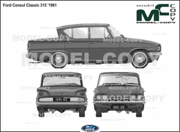 Ford Consul Classic 315 '1961 - Disegno 2D | Ford, Consul ...