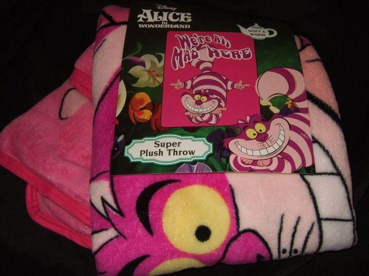 Alice In Wonderland Cheshire Cat Were Mad Here Plush Fleece Throw Blanket Disney #Disney #Throw