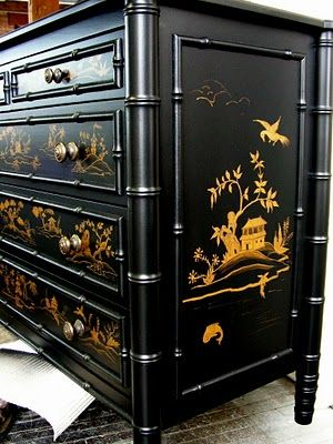 Black & Gold Chinoiserie dresser ~ Faux Bamboo