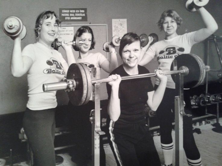 1977 Baltic Club Malmö.Damer kommer allt ner till gymmet för ren styrketräning eller figurträning som det hette då