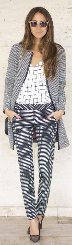 Black And White Gingham Print Trousers