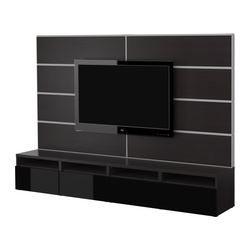 "BESTÅ TV storage combination, black, black-brown Width: 94 1/2 "" Max. depth: 15 3/4 "" Height: 65 3/8 "" Width: 240 cm Max. depth: 40 cm Height: 166 cm"