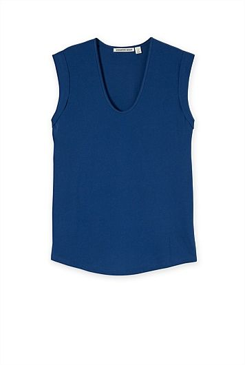 Tuck Shoulder T-Shirt. This is a nice twist on a skinny singlet with the shoulder detail and softened V neckline all adding curves.
