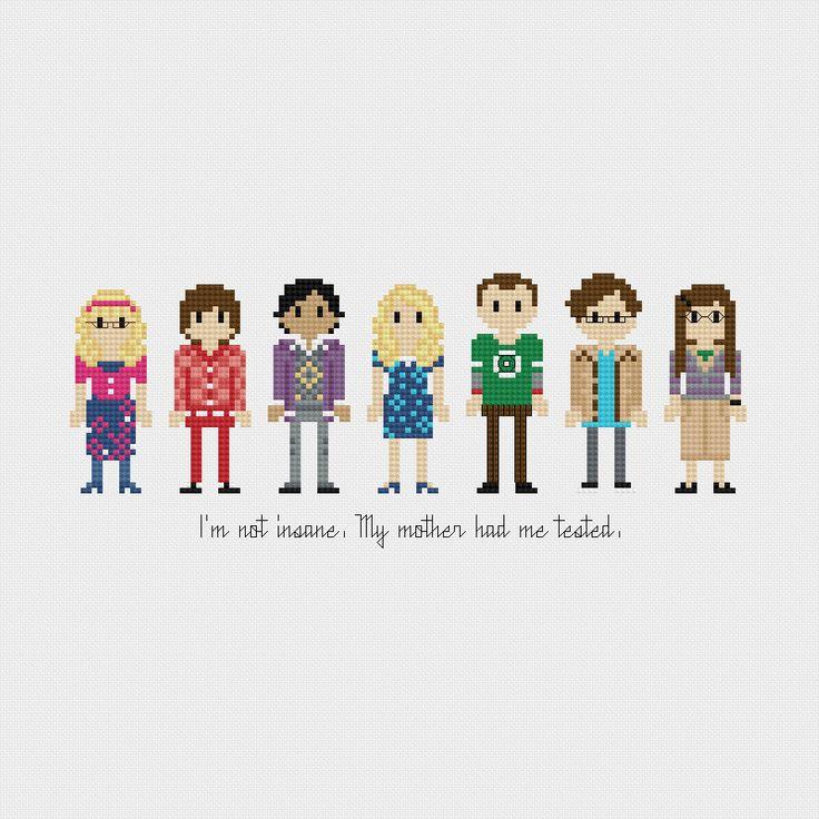 Divertidos y creativos bordados de Personajes de la Cultura Pop en punto de cruz, Star Wars, The Avengers, Big Bang Theory.