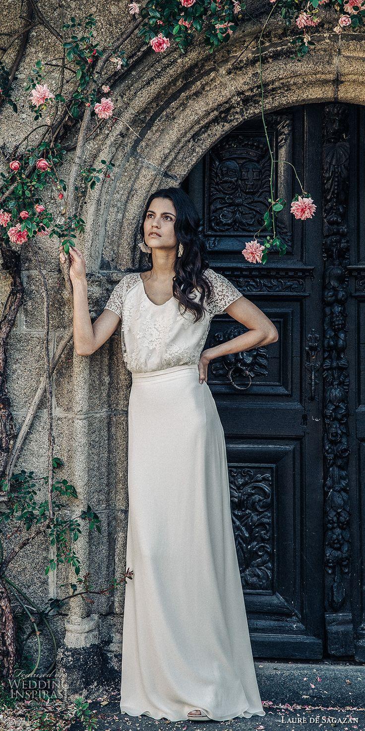 laure de sagazan 2017 bridal short sleeves scoop neck heavily embellished bodice bohemian column wedding dress open back (beauregard) mv