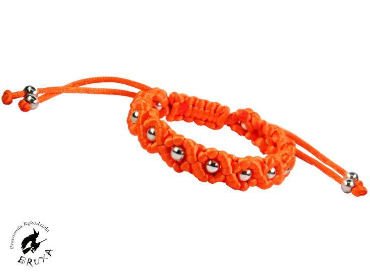 Neonowa makramowa bransoletka, bransoletka pleciona, bransoletka typu shambala, regulowana bramsoletka