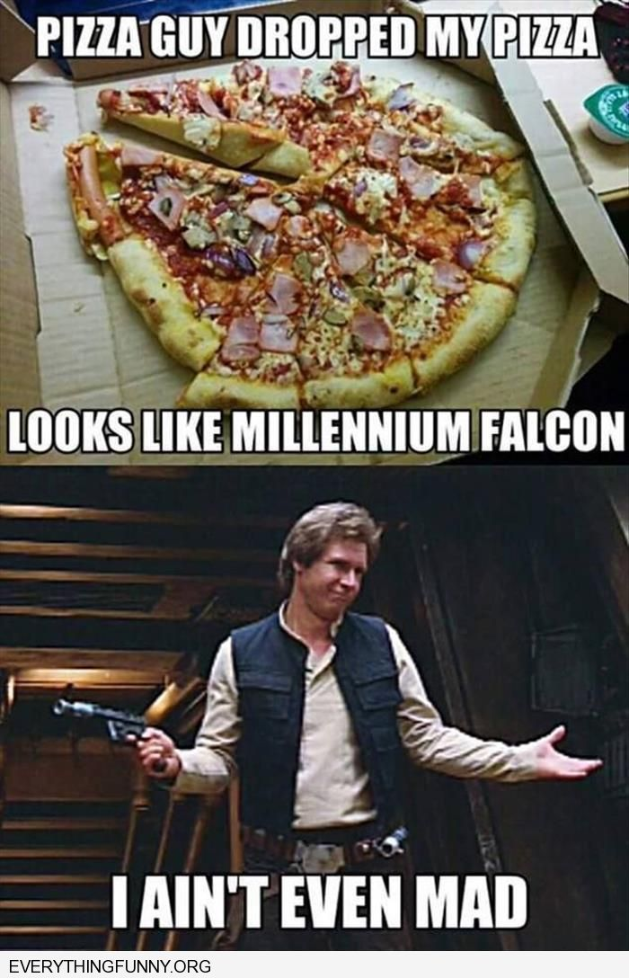 funny pizza guy dropped pizza looks like millenium falcon i ain't even mad