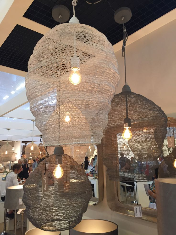 Lighting. lamps Plafonds woven of fine wire, reminiscent of fishing cages. The…