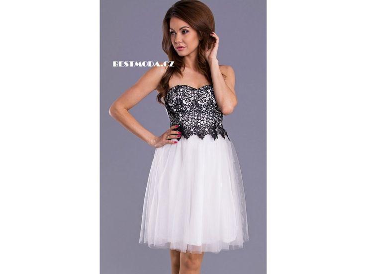 WHITE prom dress EMAMODA PARIS with BLACK lace ♥ Bílo-černé společenské šaty EMAMODA PARIS skladem