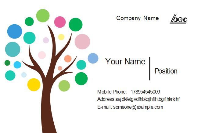 11 best business card images on pinterest business card design colorful tree business card template wajeb Images