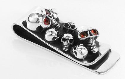 Garnet crânio clipe de dinheiro prata