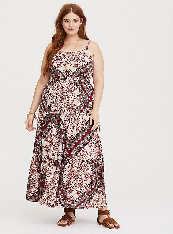 0dea800765 Plus Size Red Scarf Challis Maxi Dress