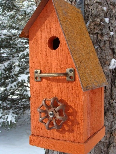 Rustic Orange Birdhouse Recycled Faucet Industrial Home Garden Reclaimed Bird House Cottage Farmhouse Beach Country