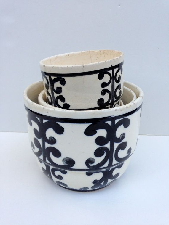 Set of 4 vintage black & white scroll design ceramic by LaDolfina, $95.00