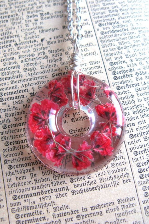 Red Baby Breath Necklace  Real flowers in Resin   Pressed