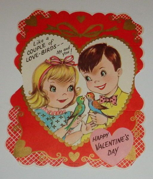 "Vintage Valentine greeting card, cute boy and girl lovebirds, 7 1/2"" used"