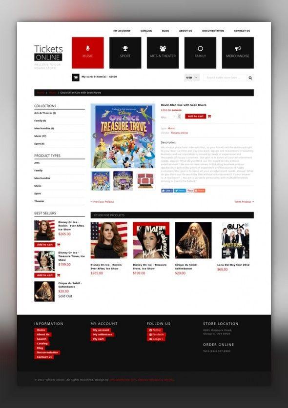 Tickets Website Responsive Shopify Theme E-commerce Templates, Shopify Themes, Entertainment, Games & Nightlife, Entertainment Templates, Tickets Website Templates