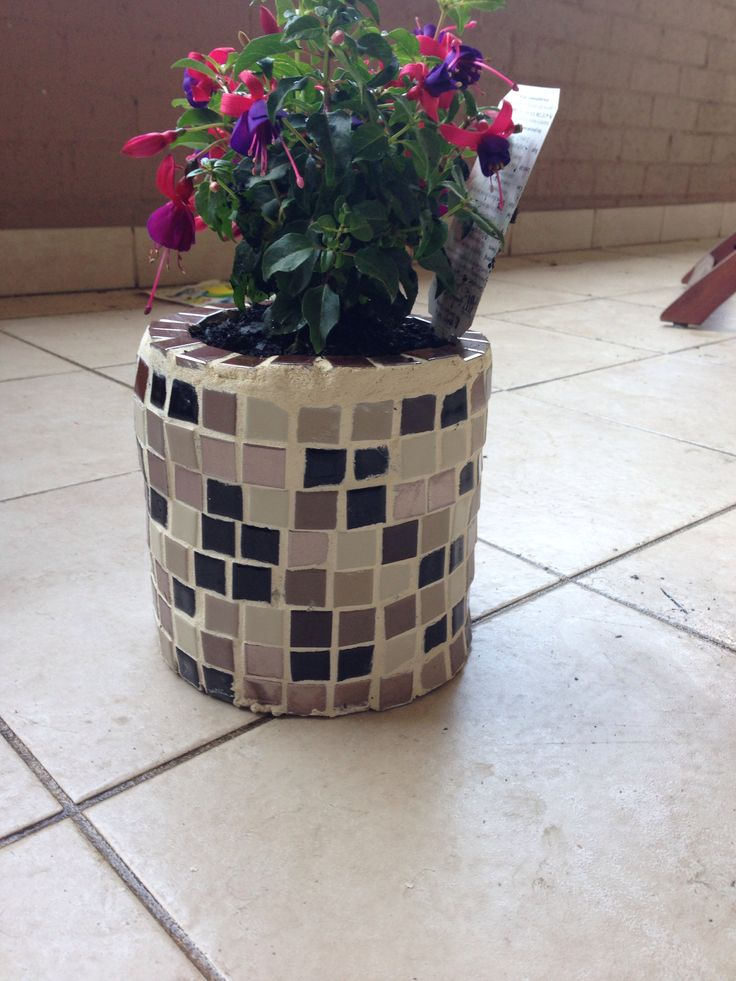 Mosaic diy. Made this pot plant with my boyfriend for his mum's birthday!