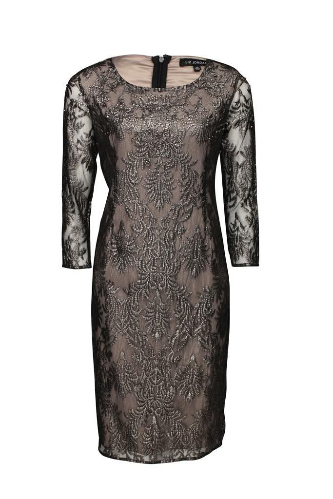 Liz Jordan Beaded Dress $299.95 AUD  3/4 sleeve foil lace and bead dress with contrast knit nude lining, 101cm in length Main: 100% Polyester Lining: 95% Polyester 5% Elastane Item Code: 047957