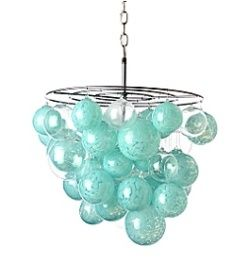 DIY Anthropologie style chandelier made from Christmas ornaments.