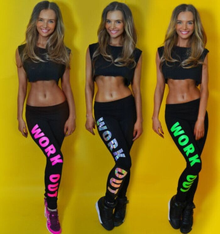 Womens Colorful WORK OUT Printed Dope Leggings Slogan Bottoms Jeggings Pants Hot on Luulla