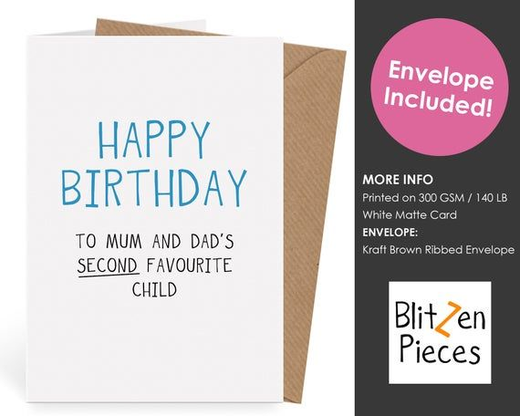Funny Greeting Card from Your 2nd Favourite Child Happy Birthday Mum