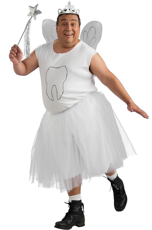 No one ever said that the Tooth Fairy had to be a girl. This Halloween, put on this hilarious Men's Tooth Fairy Costume for plus size men and prove that even guys can be dainty fairies! Prance around and be as light-footed as can be in this fun costu
