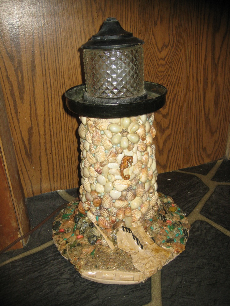 vintage hand crafted stone and shell lighthouse lamp for sale on craigslist lighthouses. Black Bedroom Furniture Sets. Home Design Ideas