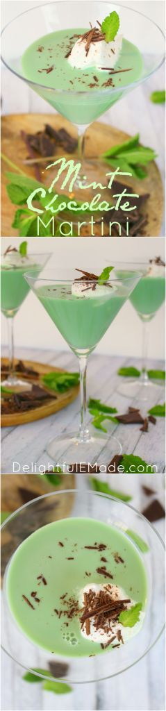 Not your mother's grasshopper!  This delicious Mint Chocolate Martini is the perfect combination of creamy, minty deliciousness!  Made with whipped cream vodka, creme de menthe, and creme de cocoa, this dessert cocktail also packs a punch!