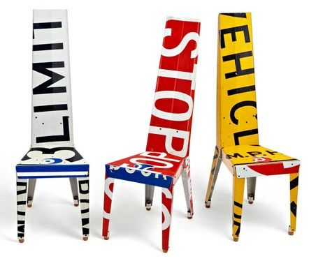 These recycled chairs made from street signs are so cool!