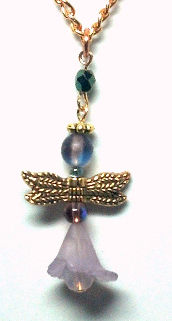 Purple Flower Angel Necklace by teresadelosh on Etsy