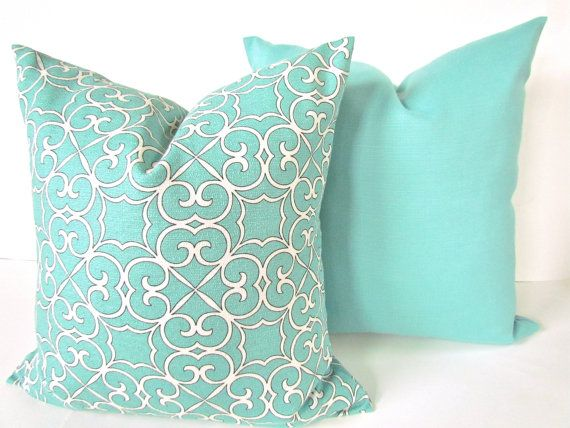 MINT PILLOW  SET of 2 - 20x20 Decorative Throw Pillows Cover 20 x 20  Mint Green Pillow Covers Modern Tiffany Blue Pillows Home and Living on Etsy, $40.95