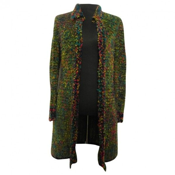 Pre-owned CHANEL Multicolour Wool Coat ($2,445) ❤ liked on Polyvore featuring outerwear, coats, wool coat, woolen coat, chanel coat, colorful coat and white woolen coat