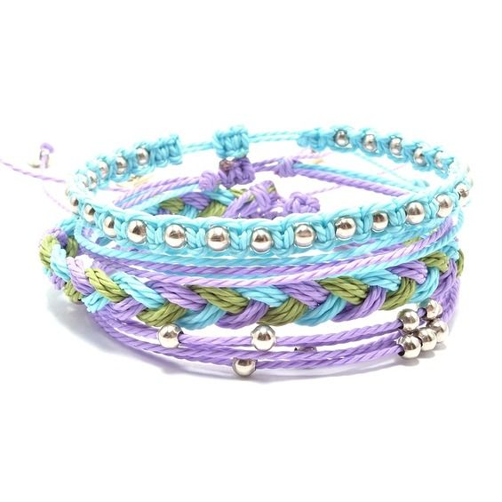 Zestaw bransoletek, zestaw , bransoletki makrama, macrame bracelets, boho style