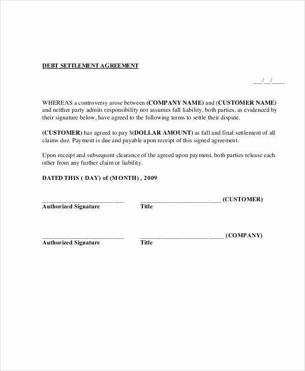 Payment Settlement Agreement Elegant 65 Simple Agreements Contract Template Agreement Templates