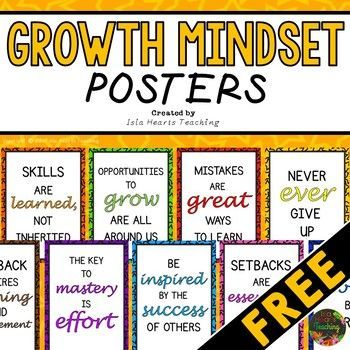 Brighten up your classroom with these 10 growth mindset posters. With a simple readable design and inspiring messages, your students will be able to refer to the concepts easily throughout the day. ***CHECK OUT THIS GROWTH MINDSET READING PACK***