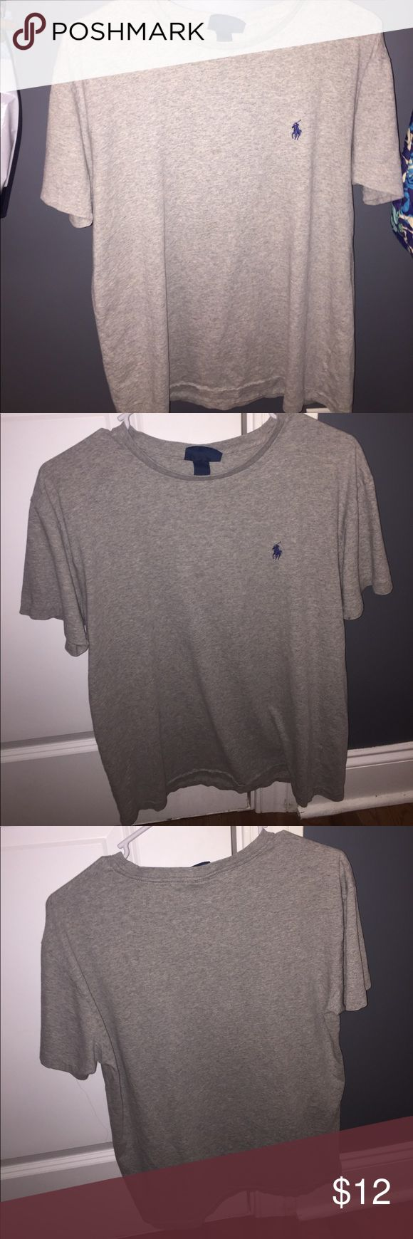Polo Ralph Lauren shirt Grey polo shirt, size small. In good condition only worn a few times bc it was too small. Feel free to make an offer! Polo by Ralph Lauren Tops Tees - Short Sleeve