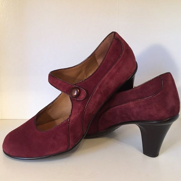 Plum Suede Heeled Mary Jane's Sweet heeled slide on heeled Mary Jane's in a rich plum color! Very cute with tights along with skirts and dresses. Attractive with slacks as well-- especially gray! Worn twice. Sofft Shoes Heels