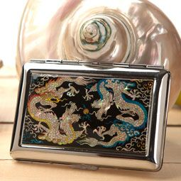 Mother of Pearl Cigarette Case with Double Dragon Design