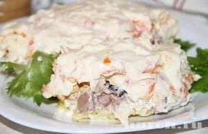 Салат с печенью трески и черносливом Морское облачко, salaty rybnye salaty