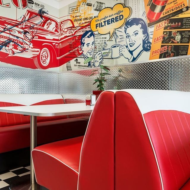 Retro #banquetteseating designed and manufactured by #knightsbridgefurniture for company lunch room in #Melbourne
