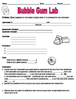 Scientific Method Inquiry Lab With Bubble Gum Worksheet Science